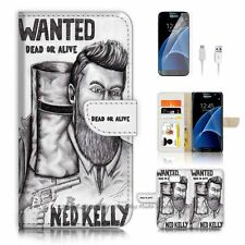 Samsung Galaxy S7 Flip Wallet Case Cover P0394 Ned Kelly Wanted