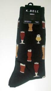New  K Bell Mens Micro Brew IPA Pilsner Beer Glass Socks Size 10-13 COOL! _B111