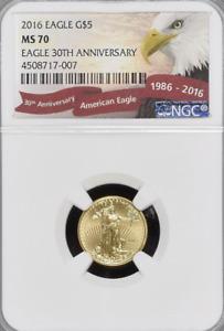 NGC MS70 2016 $5 Gold Eagle.! 30th Anniversary of Eagle.! GEM BU.! NR.!