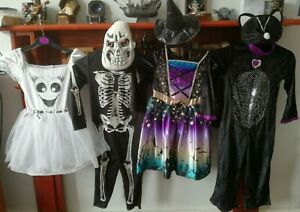 Halloween Fancy Dress Up Costume Bundle X 4 Age 3-4 Witch, Cat, Ghost, Skeleton