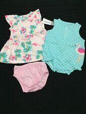 NWT infant baby girl Carters 3pc dress romper outfit set clothes lot NB Newborn