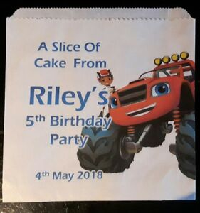 Personalised Blaze and the Monster Machines  White Cake / Party Bags