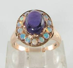 LARGE 9K 9CT ROSE GOLD AFRICAN AMETHYST & FIERY OPAL CLUSTER ART DECO INS RING