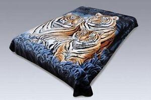 Original Solaron Korean Blanket throw thick Mink Plush queen Bengal Tiger Blue
