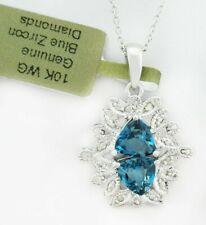GENUINE 2.54 Cts BLUE ZIRCON & DIAMOND PENDANT 10K WHITE GOLD * Made in USA