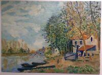 Tableau ancien Impressionnisme Paysage Huile signée