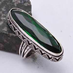 Green Quartz Ethnic Handmade Antique Design Ring Jewelry US Size-9 AR 40929