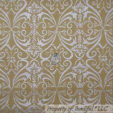 BonEful Fabric Cotton Quilt Green Gold Silver Metallic Damask Xmas Flower SCRAP