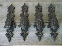 4 Cast Iron LARGE Antique Style FANCY Barn Handle Gate Pull Shed Door Handles