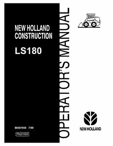 NEW HOLLAND LS180 SKID STEER LOADER OPERATORS OPERATION MAINTENANCE MANUAL