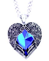 Blue crystal heart framed in antique silver coloure angel wings pendant necklace
