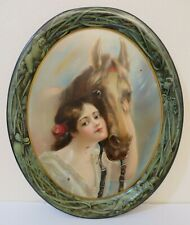 ca1905 Antique Salesmans Sample Tin Litho Advertising Serving Tray Woman w Horse