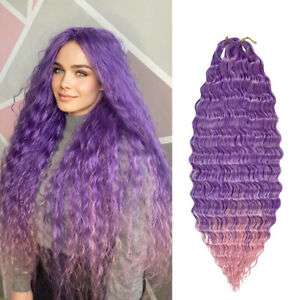 Ombre Deep Wave Twist Crochet Hair Synthetic Braiding Curly Wave Hair Extensions