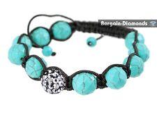shamballa turquoise-blue natural stone gunmetal disco ball bracelet hip hop