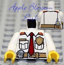 NEW Lego City Worker MINIFIG TORSO White  Pocket Shirt w/Red Tie Tool Belt Radio