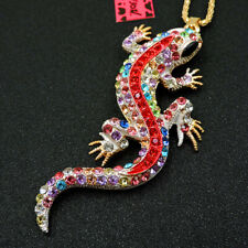 Hot Betsey Johnson Colorful Crystal Gecko Lizard Pendant Necklace Sweater Chain