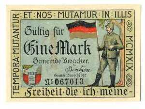 Denmark City Broager Plebiscit Schleswig-Holstein Notgeld 1 Mark 1919 UNC