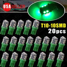 20 PCS Super GREEN Wedge T10 10-SMD LED Light bulbs W5W 2825 158 192 168 194 12V
