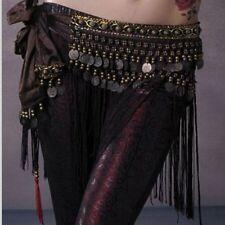 US2 Belly Dance Costume Hip Scarf Tribal Fringe Tassel Belt&Copper Coins BELT L