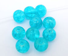 200 Turquoise Blue Glass Crackle Beads 6mm Jewellery Making J04183xf