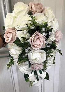 BRIDES TEARDROP BOUQUET, Ivory/blush pink Roses and Greenery natural looking
