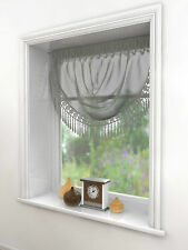 Millie Voile Swags With Heart Beaded Detail Edge 6 Great Colours Fast Delivery Silver
