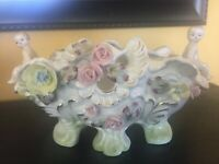 Vintage Wales China Japan Cherub & Flowers Planter 4x8 Perf Cond