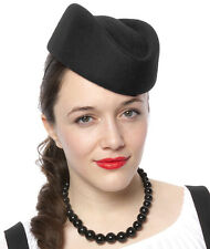 Black Stewardess Pill Box Hat - Air Hostess Uniform Wool Felt - Retro Style
