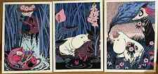 Moomin Postcards from Finland,set of 3, fun characters Karto Oy purple blue pink