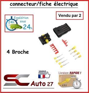 connecteur de fiche électrique pour véhicule 4 branchement vendu par deux