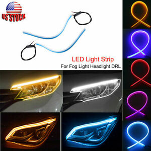 60cm LED Car DRL Daytime Running Lamp Strip Light Flexible Soft Silicone Tube US