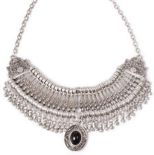 Treaty Jewellery Roxana silver plated statement collar Necklace, boho gift pouch