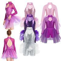 Girls Sequin Ballet Dance Dress Turtle Neck Jazz Latin Leotard Dancewear Costume