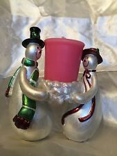 Two Snowman Tealight/Votive Candle Holder