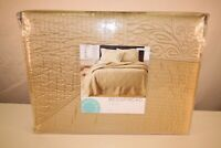 Martha Stewart Quilted Lush Embroidery Bedspread Cappuccino Gold NEW TFI