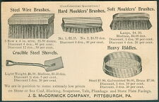 """1895, J.S. McCormick Co, Pittsburgh, PA """"Brushes"""" advertising on UX12 card"""