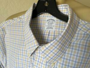 "BROOKS BROTHERS Regent NON-IRON Yellow Checked Long Sleeve Shirt 17 1/2-35"" **"
