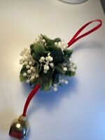 Vintage Plastic Faux Mistletoe Ball Red Velvet Metal Bell Christmas Decoration