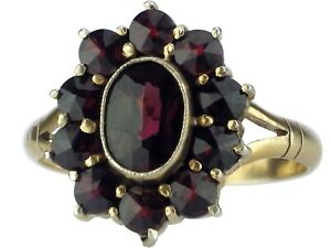 Art Deco 900 Silber vergoldet Böhmischer Granat Damen Blumen Ring!