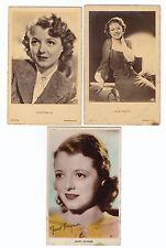 JANET GAYNOR  - 3  PHOTO  postcards  - MOVIE STAR