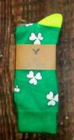 MENS AMERICAN EAGLE SHAMROCK CLOVER GREEN CREW SOCKS ONE SIZE