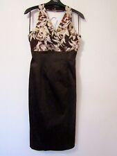 Coast Brown Halter Neck Cocktail Dress, UK Size 8 Floral Bodice Prom Dress