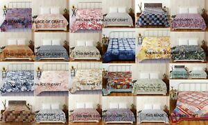 Cotton hand Kantha Quilt Indian Reversible Queen AC Blanket Bed cover Bedspread