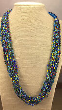 Vintage Ethnic Necklace Glass Dark Aqua Turquoise Green Yellow Red Multi Strand