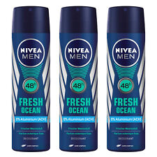 3 x Nivea MEN FRESH OCEAN Body Spray Deodorant Aluminium Free 48h Fresh 150ml