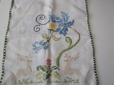 Cross Stitch Table Runner Deer, Elk, Flowers Green Crochet Edge Handmade