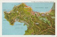 Map of Monterey Peninsula, California Postcard Linen Unposted