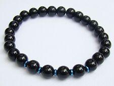 Elasticated BLACK GLASS HEMATITE Men's 8mm beads gemstone streachable bracelet