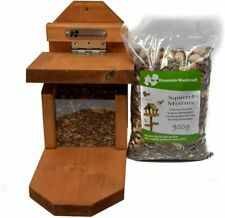 Riverside Woodcraft Squirrel Feeder + Antibacterial Coating & 900g Squirrel Food