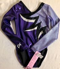 Gk LgS Leotard Child Medium Purple Black Mystique Gymnastics Dance Cheer Cm Nwt!